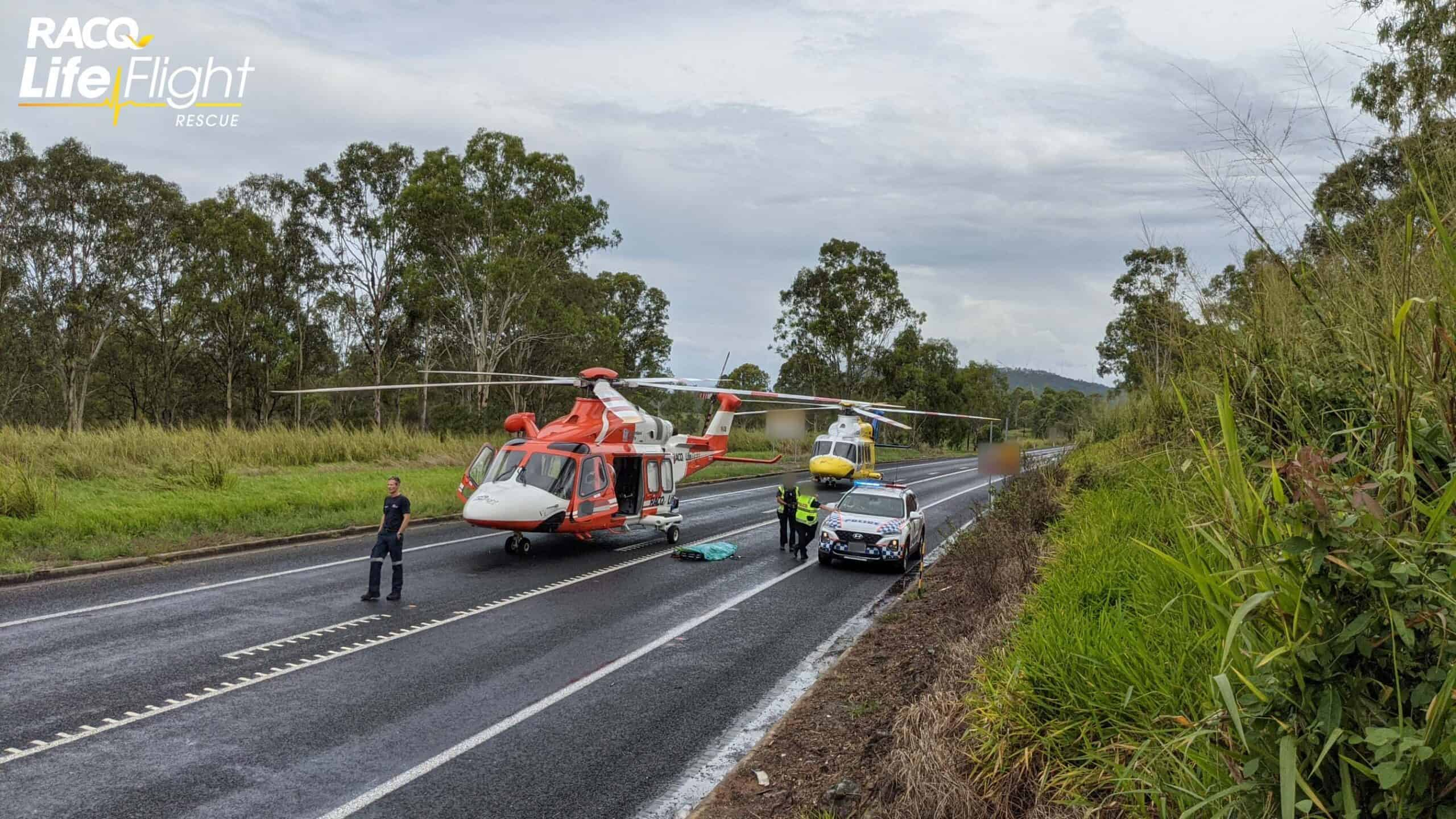 Two RACQ LifeFlight Rescue choppers called to head-on crash