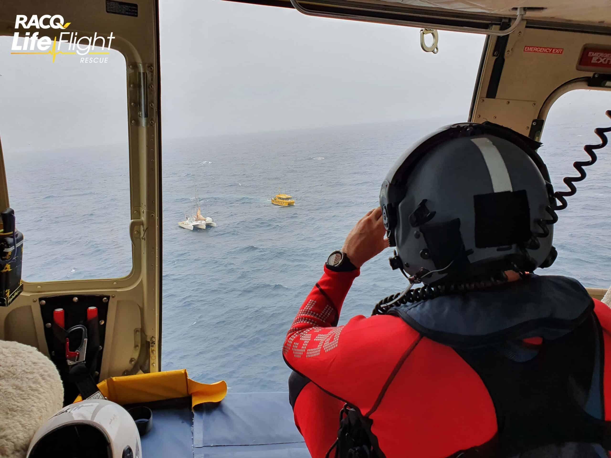 RACQ LifeFlight Rescue assists boatie on board damaged vessel