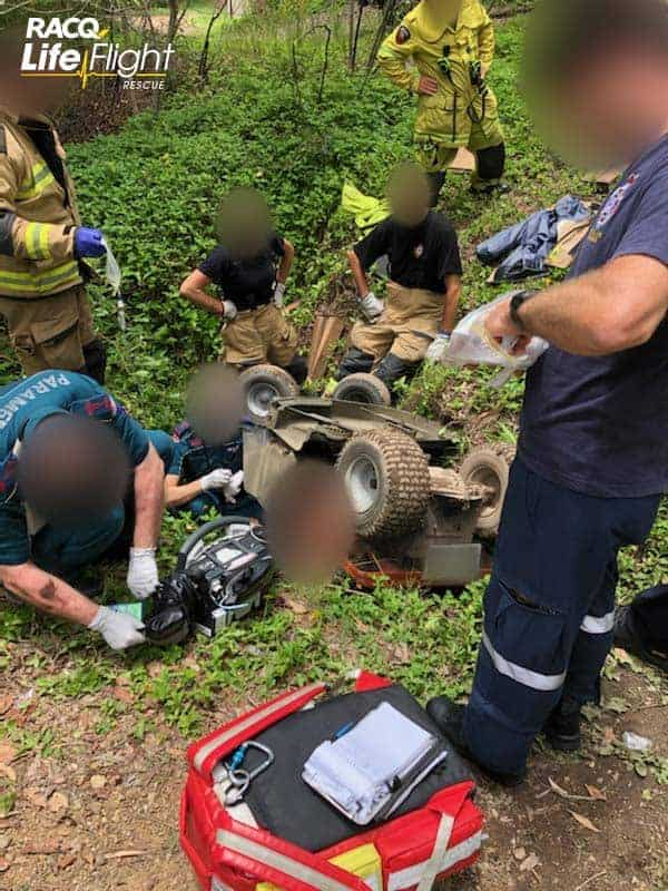 Man seriously injured after ride-on lawn mower rolls into ditch