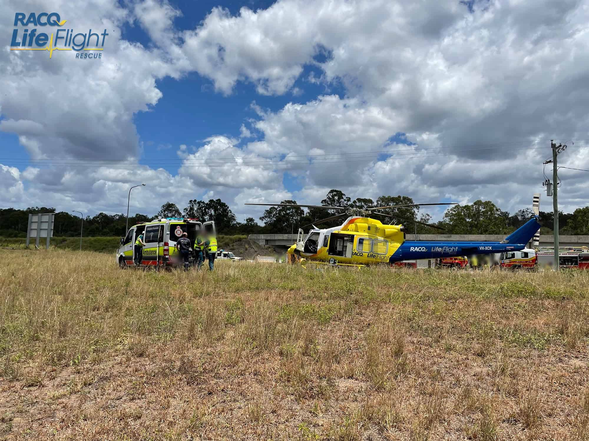 RACQ LifeFlight Rescue airlifts driver trapped in gravel truck rollover