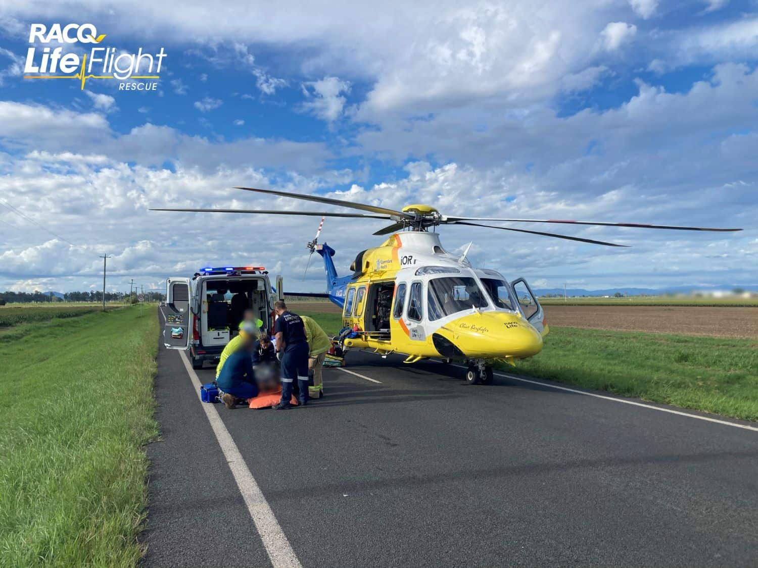 RACQ LifeFlight Rescue airlifts female after mini bus and car crash