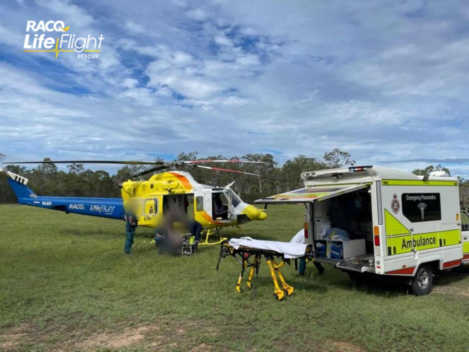 RACQ LifeFlight Rescue airlifts woman after truck and car accident