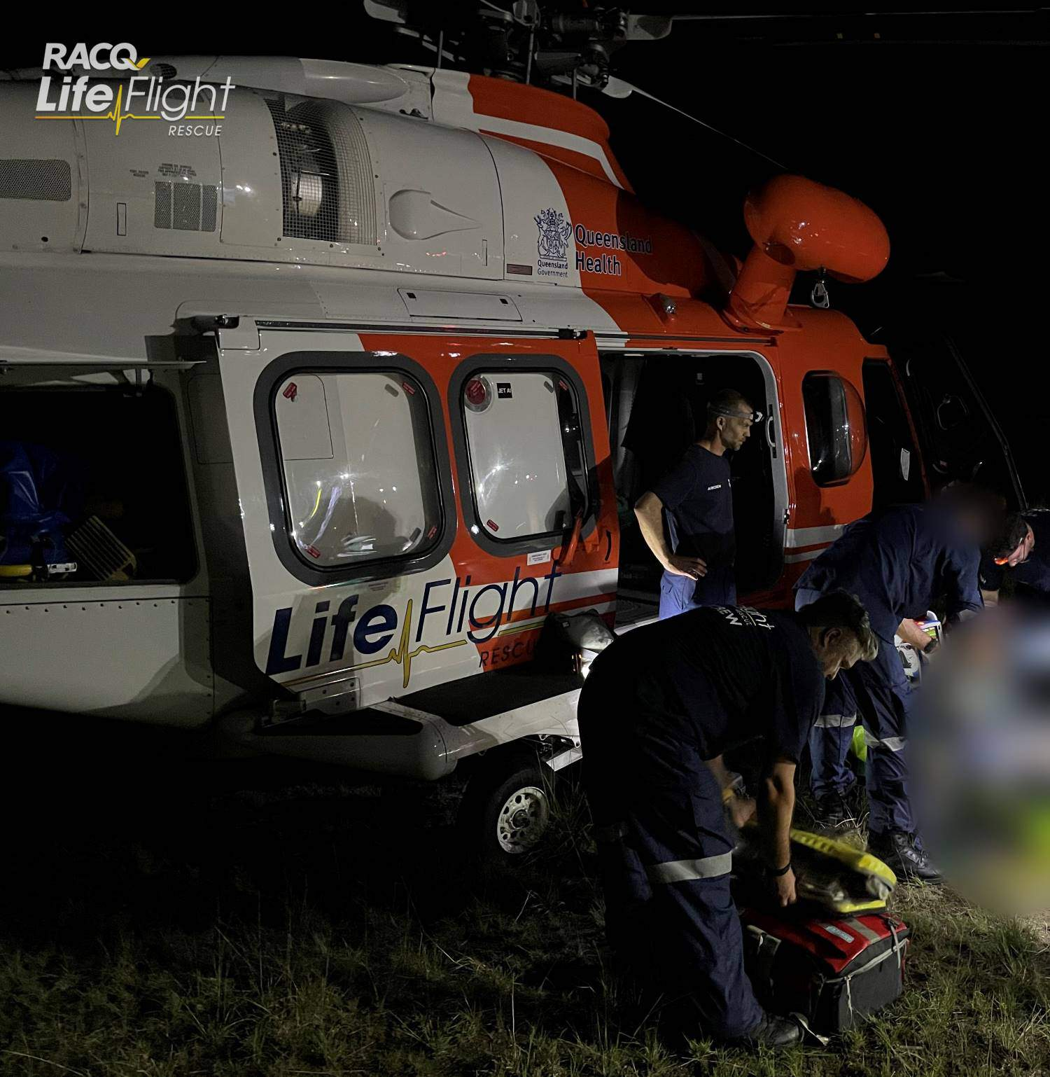 RACQ LifeFlight Rescue airlifts injured baby after crash