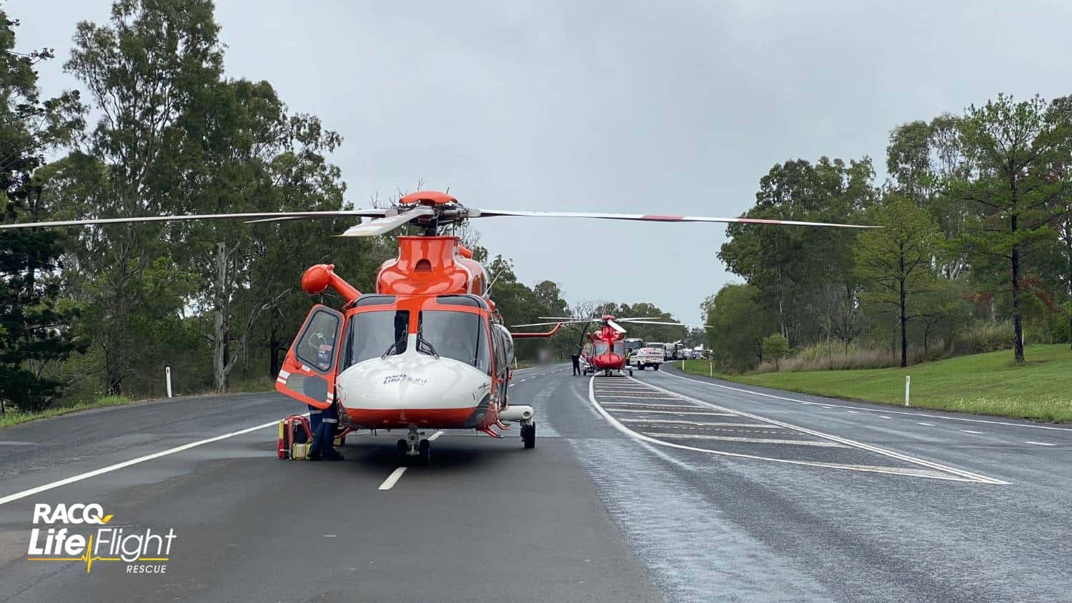 RACQ LifeFlight Rescue airlifts critically injured man after head-on crash
