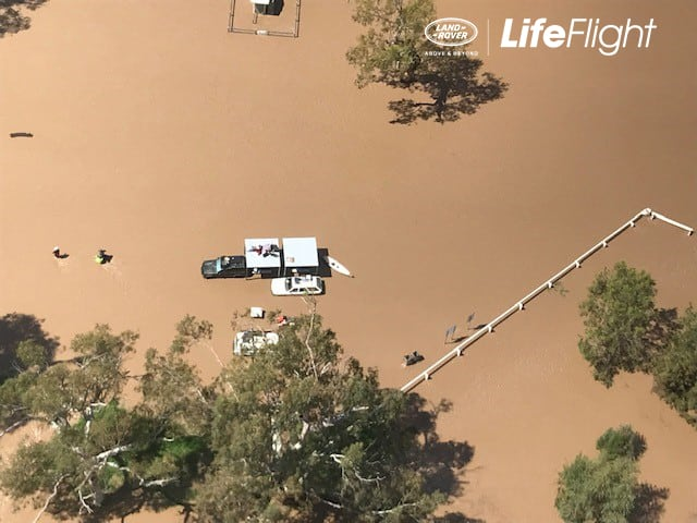 LifeFlight winches four people and two dogs from flooded NSW campsite