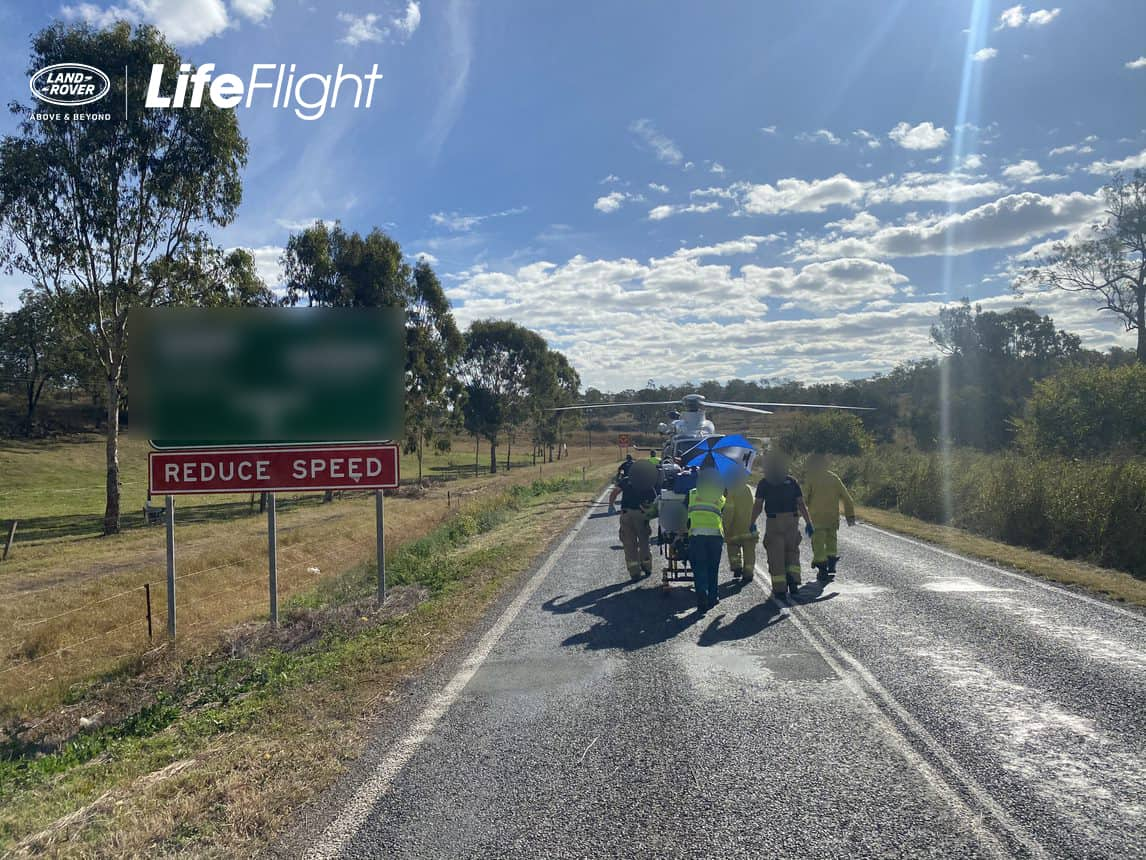 Motorcyclist airlifted after suffering leg injuries in crash