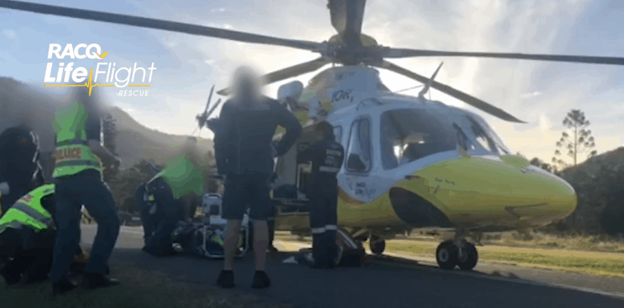Motorcyclist airlifted after colliding with a car