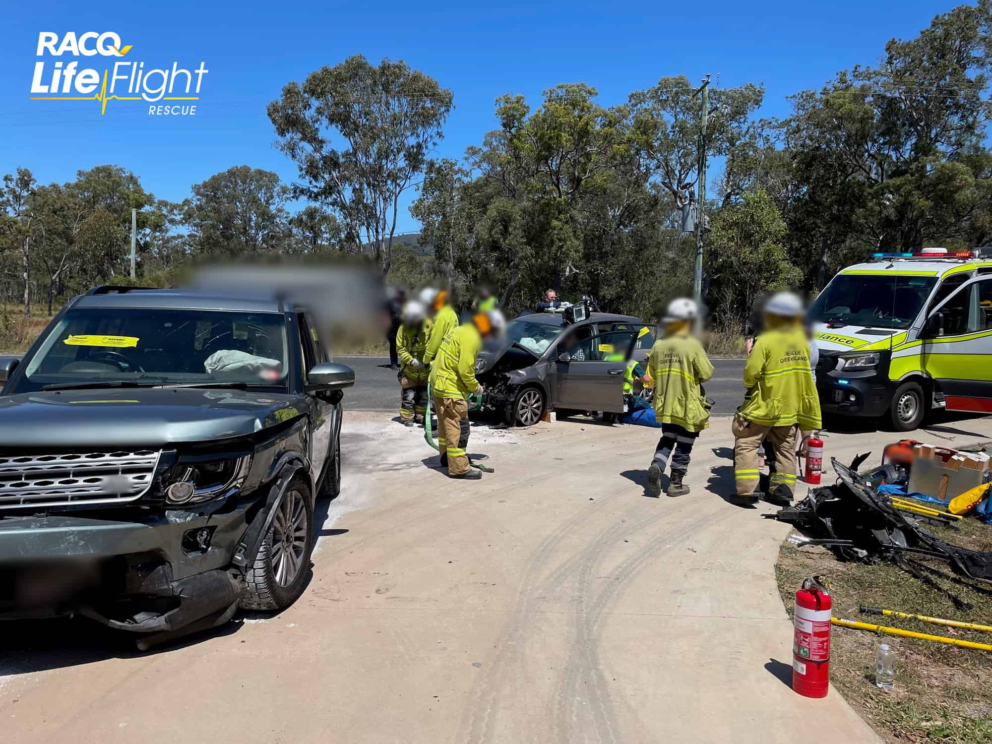 RACQ LifeFlight Rescue airlifts injured woman after head-on crash