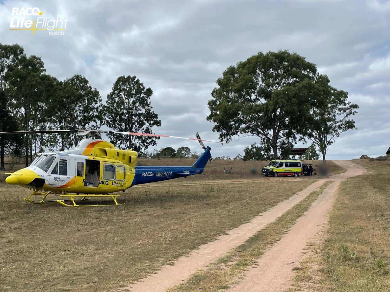 RACQ LifeFlight Rescue airlifts injured dirt bike rider
