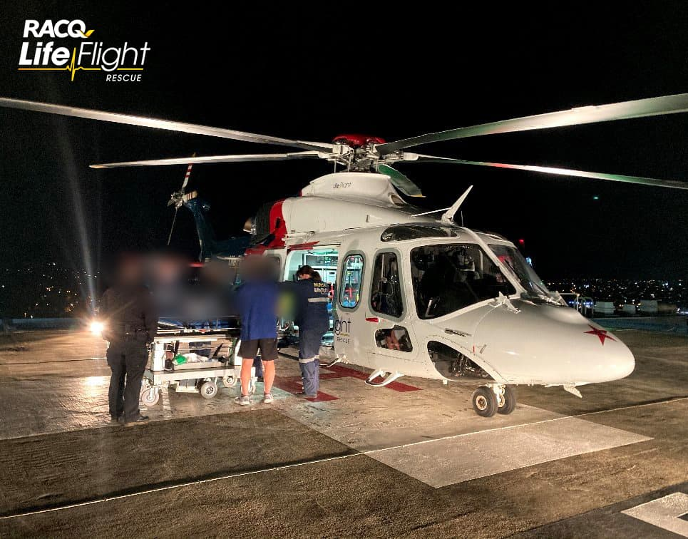 Critically injured man airlifted after falling 8 metres from tree