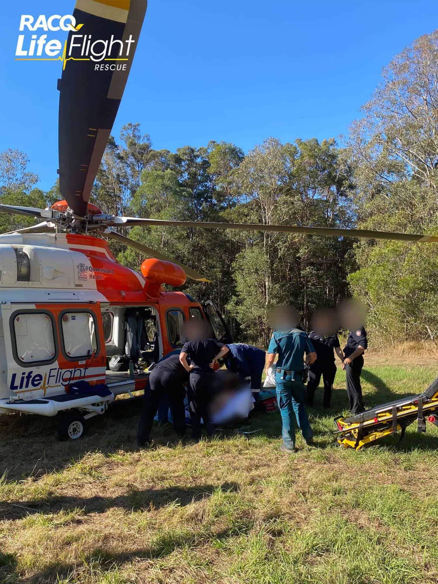 Paramedic winched in to help injured trail bike rider