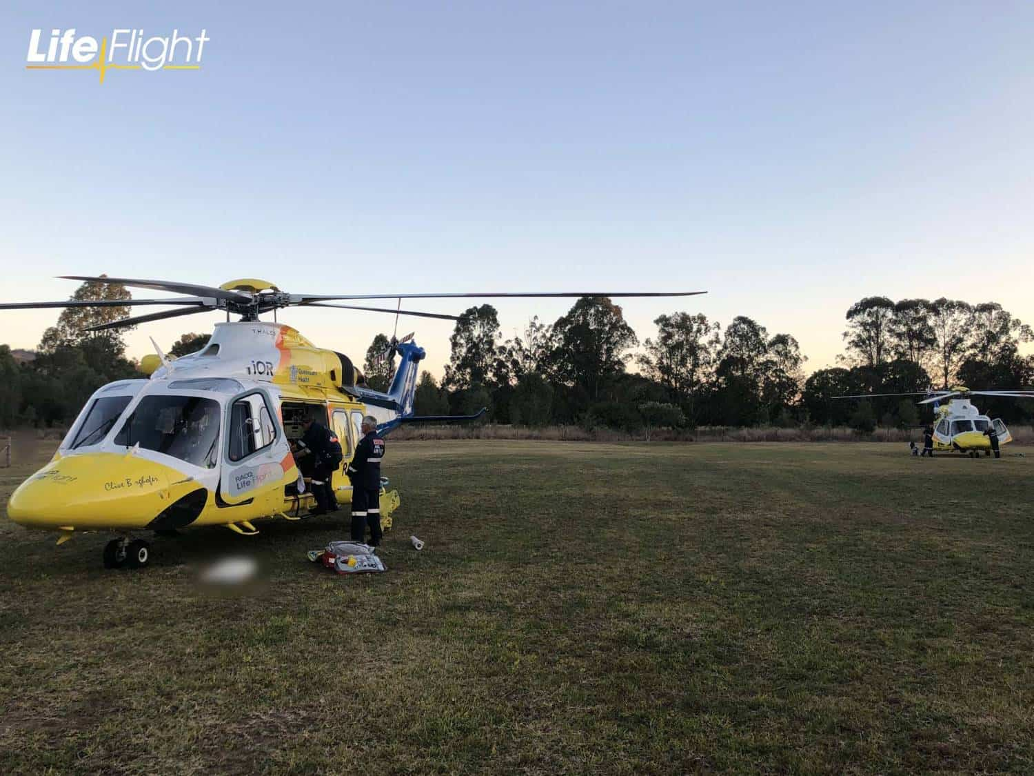 Two LifeFlight choppers airlift couple after car rollover