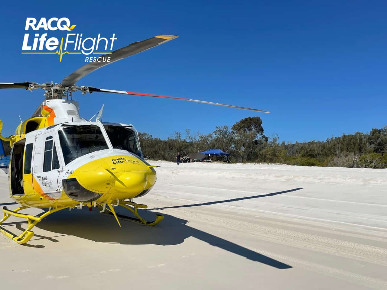 Beach landing for RACQ LifeFlight Rescue helicopter mission