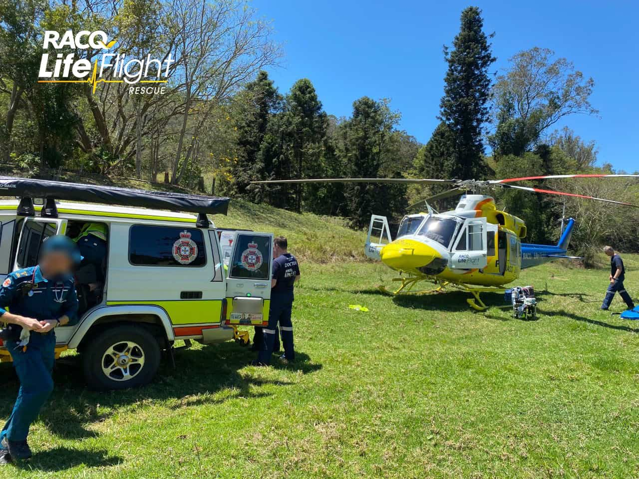 Seriously injured motorbike rider airlifted to hospital