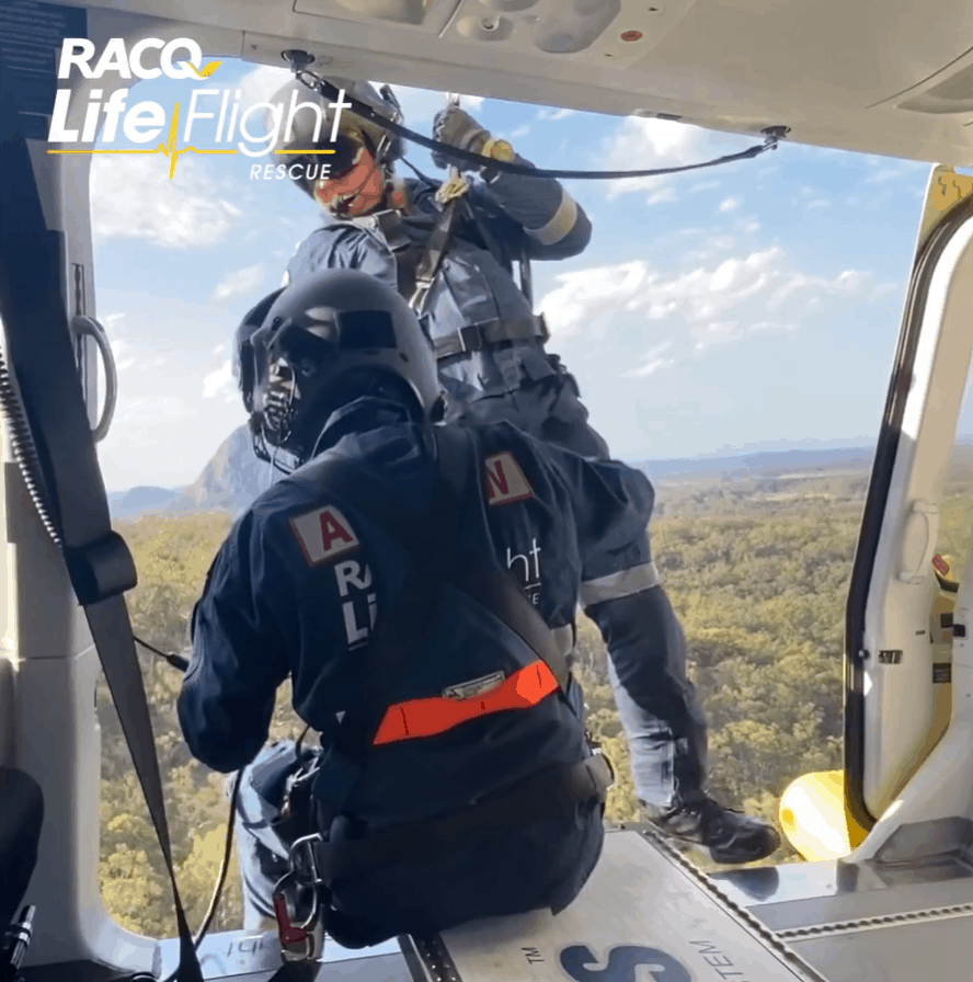 RACQ LifeFlight Rescue winches injured hiker to safety
